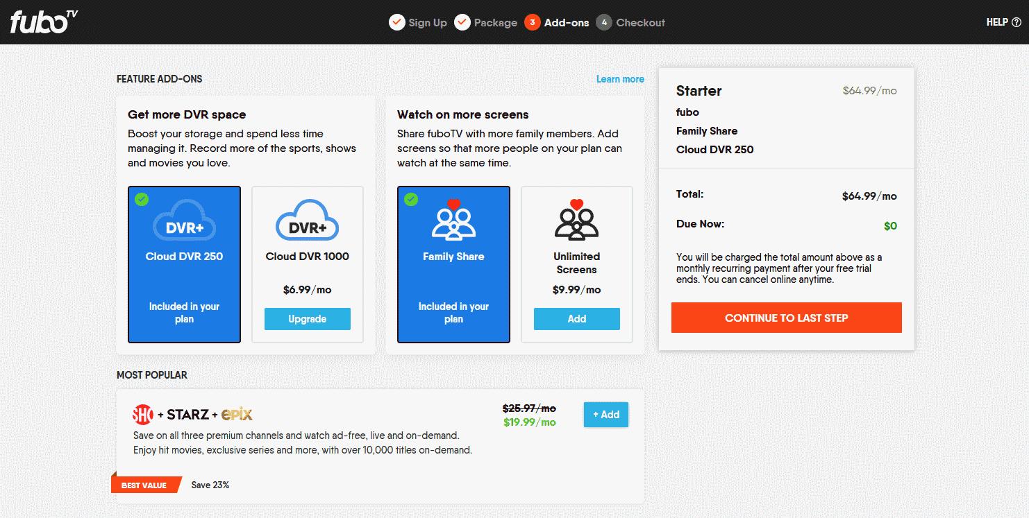 FuboTV: Select Add-Ons