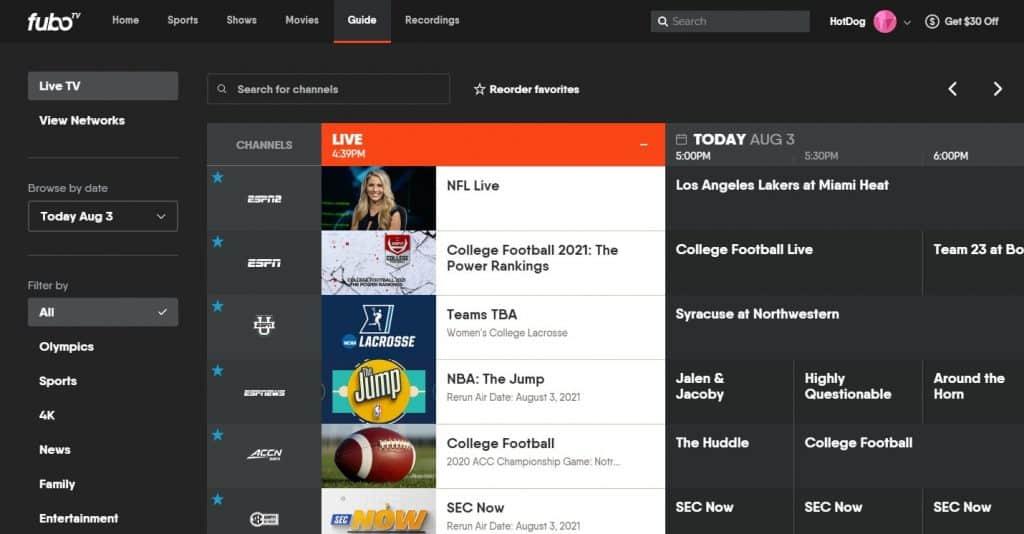 ESPN2 FuboTV