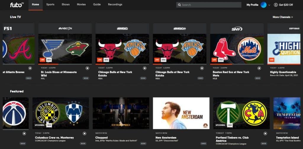 FuboTV Home Page