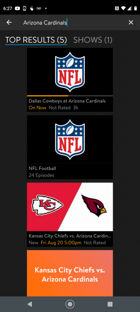Sling TV Android - Arizona Cardinals