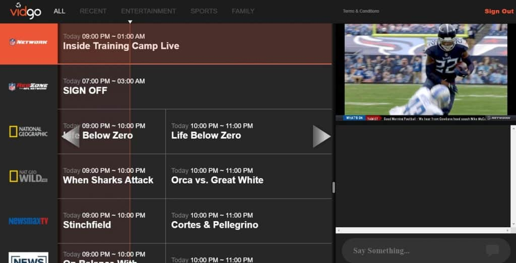 Vidgo NFL Network